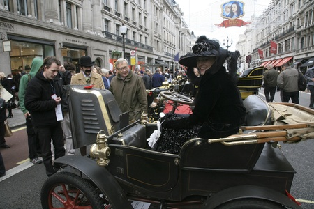 regent: London, UK - November 06, 2010: Display of vintage cars, Peugeot, 1903. Some participants display their old cars in Londons Regent Street on the day before the Run.  Editorial
