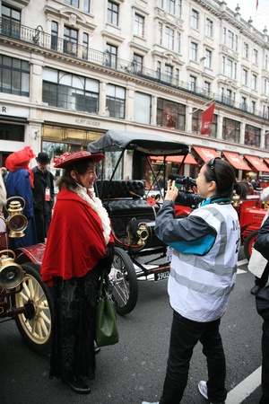 London, UK - November 06, 2010: Participants have interview with media in Londons Regent Street on the day before the London to Brighton Veteran Run.