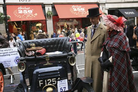 london to brighton veteran car run: London, UK - November 06, 2010: Display of vintage cars, New Orleans, 1900. Some participants display their old cars in Londons Regent Street on the day before the Run.  Editorial