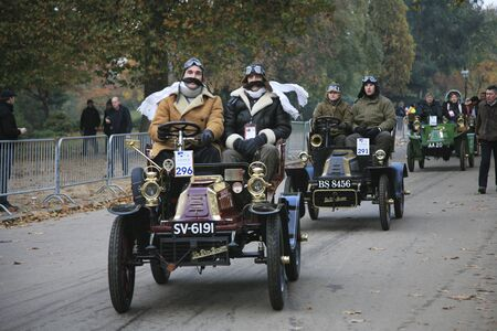 London, UK - November 07, 2010: London to Brighton Veteran Car Run participants, De Dion Bouton, 1903,  leaving Hyde Park, the event starts at 7:00am at the Serpentine Road in Hyde Park.