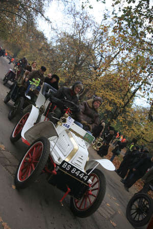London, UK - November 07, 2010: London to Brighton Veteran Car Run participants, Lacoste et Battmann, 1904,  leaving Hyde Park, the event starts at 7:00am at the Serpentine Road in Hyde Park.