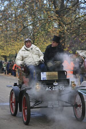 London, UK - November 07, 2010: London to Brighton Veteran Car Run participants, Milwaukee(steam), 1900,  leaving Hyde Park, the event starts at 7:00am at the Serpentine Road in Hyde Park.