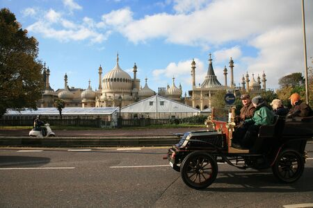 london to brighton veteran car run: London, UK - November 07, 2010: London to Brighton Veteran Car Run participants arriving in Brighton, event starts at 7:00am at the Serpentine Road in Hyde Park, London.  Editorial