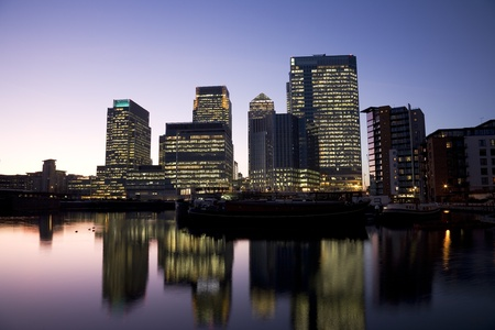 Office skyscrapers in Canary Wharf at Night. Canary Wharf is the main financial district at London photo