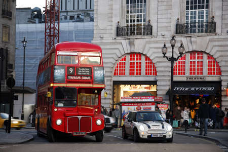 London, UK - December 18, 2011:  Heritage Routemaster Bus, operated in London from 1956 to 2005. The open platform allowed minimal boarding time and optimal security