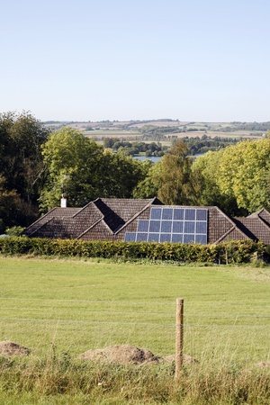 solarpanel: Solar panels on the roof of a house     Stock Photo