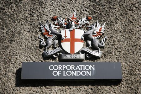 British Coat of arms flag of the City of London with St George dragoon drake
