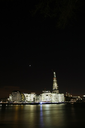 London Cityscape, including City Hall, from North Bank of Thames  photo
