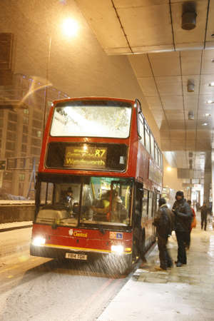 LONDON - February 04, 2012: Snow cause travel trouble. Snow hit the London on Sunday after covering parts of northern and the Midlands on Saturday.  Stock Photo - 12256130