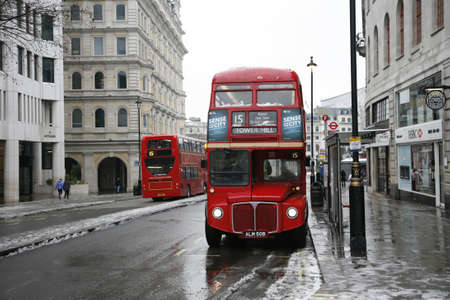 LONDON - February 04, 2012: Heritage Routemaster Bus operated in London from 1956 to 2005. The open platform allowed minimal boarding time and optimal security