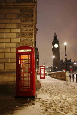 London Red Telephone Booth and Big Ben in the Distance.  photo
