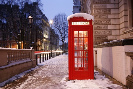 place of interest: London Red Telephone Booth at dawn Stock Photo