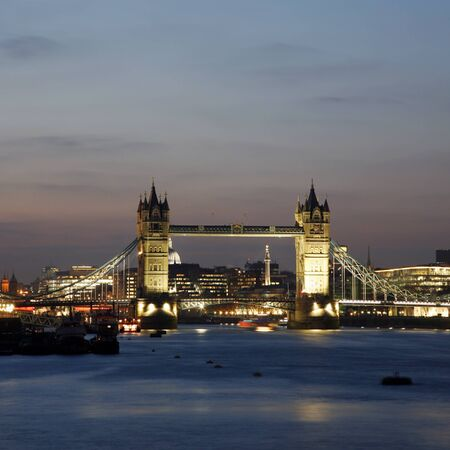 Tower Bridge, seen from South Bank, at dusk  photo