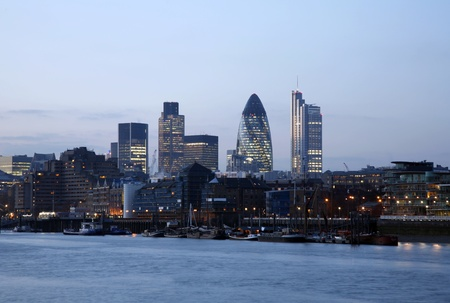 Skyline of City of London seen from Tower Hemlets
