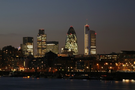 Skyline of City of London seen from Tower Hemlets photo