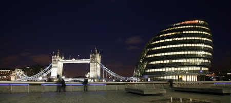 London Cityscape, including Tower Bridge and City Hall, from North Bank of Thames   photo