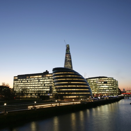 London Cityscape, including City Hall, seen from Tower Bridge  photo