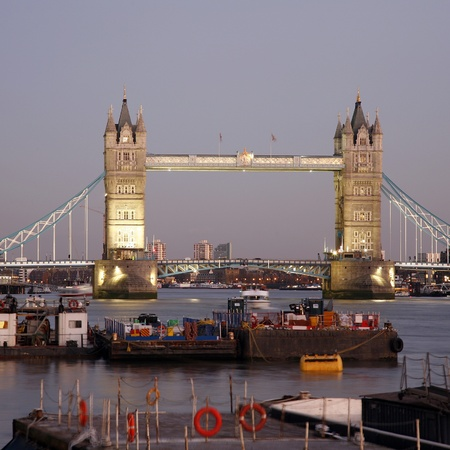 Tower Bridge seen from south bank at night  photo