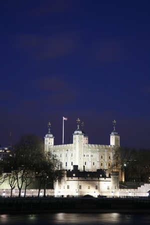 Tower of London seen from North Bank at Night Stock Photo - 12520189