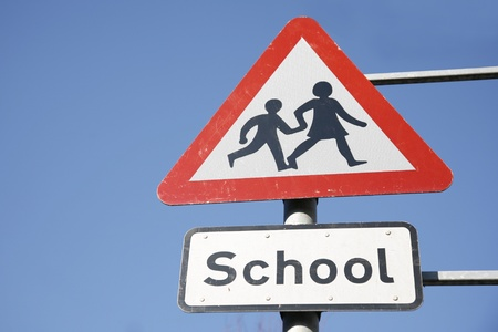 Warning Roadside Sign, School Safety Zone     Stock Photo - 12523985