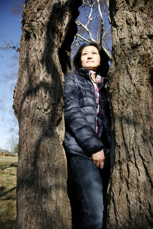 Portrait asian woman, looking off into distance Stock Photo - 12523972