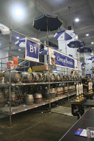 London, UK - August 05, 2006: Cask Beer of The Great British Beer Festival, 2006, at Earls Court, Britain's biggest beer festival. Visitors can try wide range of real ales, ciders, perries and international beers.     Stock Photo - 12445169