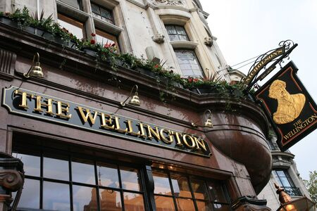 London, UK - November 11, 2010: English pub sign. Public house, known as pub, for drinking and socializing, is the focal point of the community. Pub business, now about 53,500 pubs in the UK, has been declining every year.