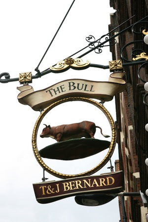 London, UK - August 19, 2010: English pub sign. Public house, known as pub, for drinking and socializing, is the focal point of the community. Pub business, now about 53,500 pubs in the UK, has been declining every year. Stock Photo - 12641883