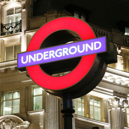 London, UK - November 15, 2011: Close up underground sign. The sign was first used in 1908, now this underground logo used by other London transportation systems as well.  Stock Photo - 12716893