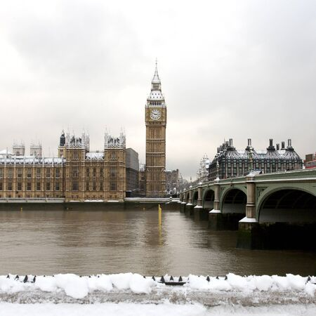 seen: Snow Covered Westminster seen from South Bank