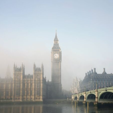 Palace of Westminster in fog seen from South Bank Stock Photo - 12790100
