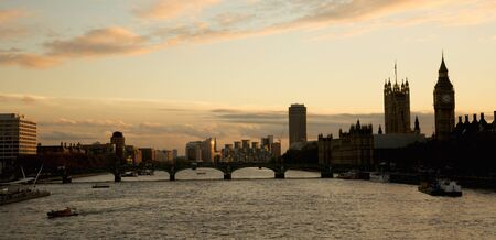 Westminster and London Eye seen from Hungerford Bridge photo