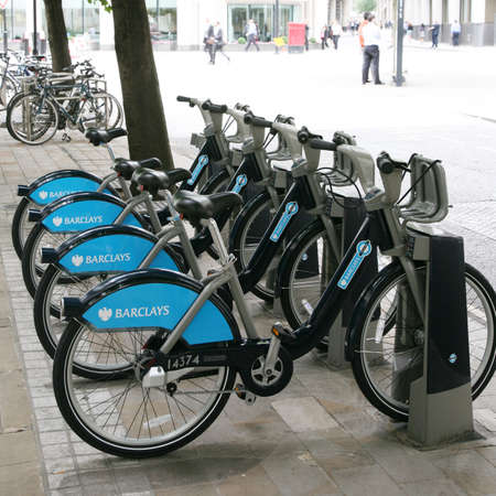boris: London, UK - August 20, 2010 : Londons bicycle sharing scheme, to help ease traffic congestion, sponsored by Barclays, was launched on 30 July 2010. Currently there are some 6,000 bikes and 400 docking stations in London.    Editorial