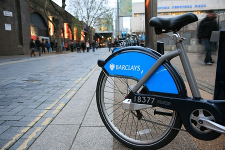London, UK - November 21, 2010 : Londons bicycle sharing scheme, to help ease traffic congestion, sponsored by Barclays, was launched on 30 July 2010. Currently there are some 6,000 bikes and 400 docking stations in London.
