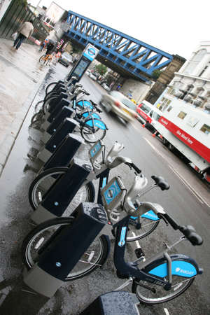 boris: London, UK - August 25, 2010 : Londons bicycle sharing scheme, to help ease traffic congestion, sponsored by Barclays, was launched on 30 July 2010. Currently there are some 6,000 bikes and 400 docking stations in London.    Editorial