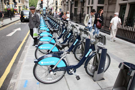 London, UK - August 2, 2010 : Londons bicycle sharing scheme, to help ease traffic congestion, sponsored by Barclays, was launched on 30 July 2010. Currently there are some 6,000 bikes and 400 docking stations in London.