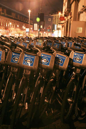 boris: London, UK - November 1, 2010 : Londons bicycle sharing scheme, to help ease traffic congestion, sponsored by Barclays, was launched on 30 July 2010. Currently there are some 6,000 bikes and 400 docking stations in London.    Editorial