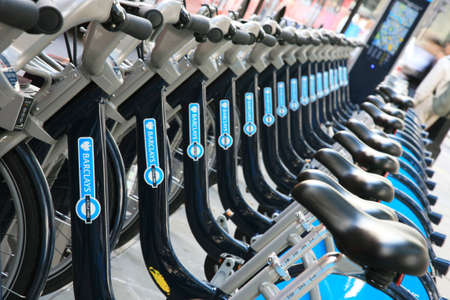 London, UK - September 16, 2010 : Londons bicycle sharing scheme, to help ease traffic congestion, sponsored by Barclays, was launched on 30 July 2010. Currently there are some 6,000 bikes and 400 docking stations in London.