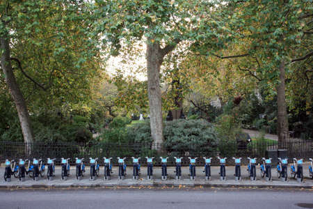 London, UK - November 6, 2010 : Londons bicycle sharing scheme, to help ease traffic congestion, sponsored by Barclays, was launched on 30 July 2010. Currently there are some 6,000 bikes and 400 docking stations in London.