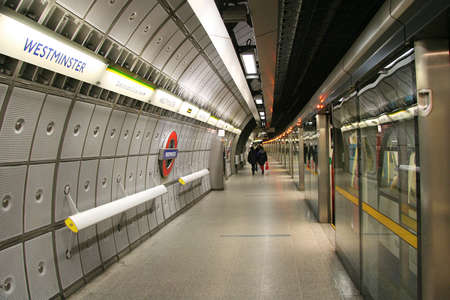London, UK - May 28, 2006: Inside view of the Underground Tube System, the oldest underground railway in the world, covering 402 km of tracks.