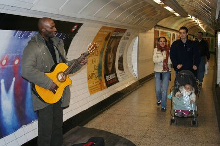 London, UK - March 4, 2006: Inside view of the Underground Tube System, the oldest underground railway in the world, covering 402 km of tracks.  Stock Photo - 13021193