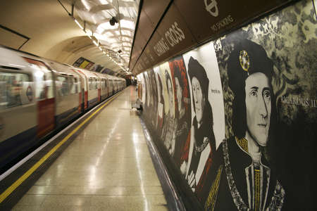 London, UK - March 23, 2006: Inside view of the Underground Tube System, the oldest underground railway in the world, covering 402 km of tracks.