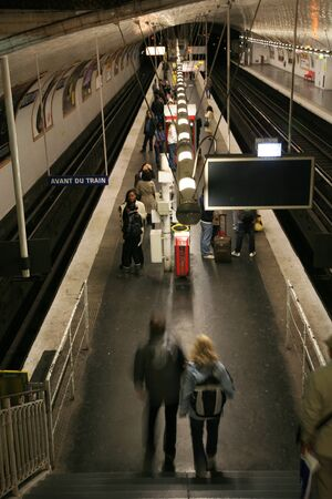 Paris, France - September 25, 2010: Inside view of the Metro System, one of the densest networks in the world, covering 214 km of tracks. 