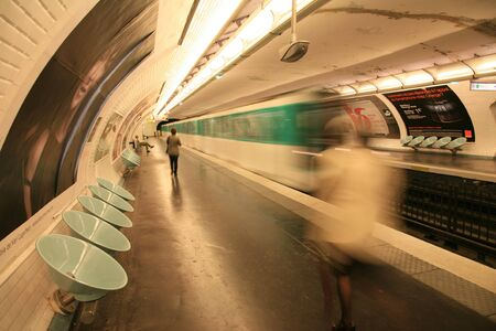 Paris, France - September 27, 2010: Inside view of the Metro System, one of the densest networks in the world, covering 214 km of tracks. 