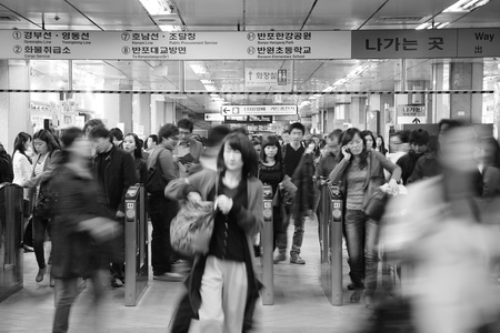 Seoul, South Korea - April 23, 2011: Inside view of the Metropolitan Subway in Seoul, one of the most heavily used underground rail systems in the world, service 8 million passengers daily.  Stock Photo - 13021395