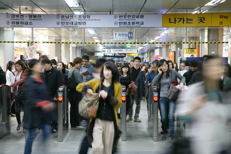 Seoul, South Korea - April 23, 2011: Inside view of the Metropolitan Subway in Seoul, one of the most heavily used underground rail systems in the world, service 8 million passengers daily. 
