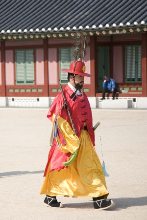 Seoul, South Korea - April 29, 2011: Korean royal guard on changing the official palace guard ceremony at Gyeongbok Palace, on April 29, 2011 in Seoul, South Korea.  Stock Photo - 13154676