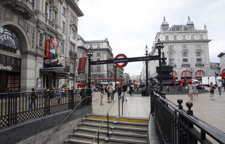 London, UK - August 9, 2010: View of Piccadilly Circus, famous road junction, built in 1819, meeting place, tourist attraction, in West End, inks to Shaftesbury Avenue, Regent Street, Haymarket, Leicester Square and Glasshouse Street.  Stock Photo - 13257058