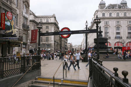 London, UK - August 9, 2010: View of Piccadilly Circus, famous road junction, built in 1819, meeting place, tourist attraction, in West End, inks to Shaftesbury Avenue, Regent Street, Haymarket, Leicester Square and Glasshouse Street.  Stock Photo - 13257061