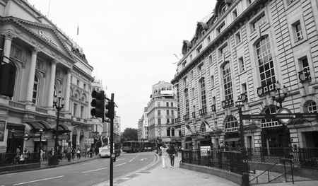 London, UK - August 12, 2010: View of Piccadilly Circus, famous road junction, built in 1819, meeting place, tourist attraction, in West End, inks to Shaftesbury Avenue, Regent Street, Haymarket, Leicester Square and Glasshouse Street.  Stock Photo - 13257045
